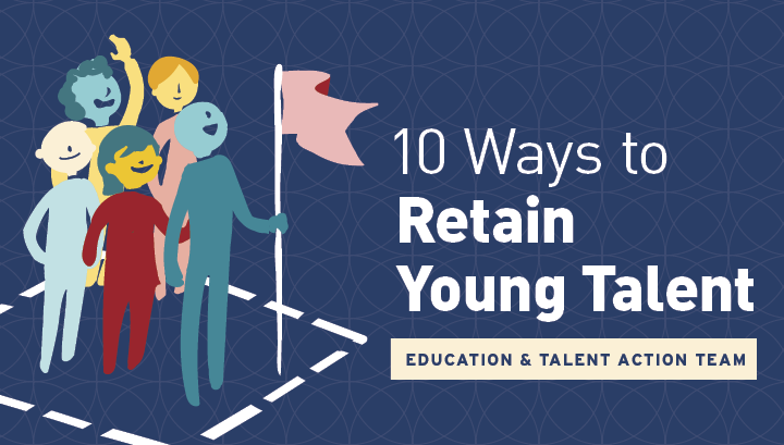 10 Ways to Retain Young Talent Graphic