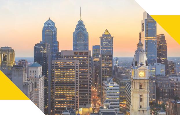 Photo of Philadelphia skyline at sunset