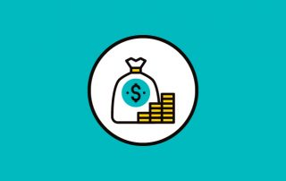 Blue background with white circle in center. Animated image of bag of money & stack of money inside the circle.