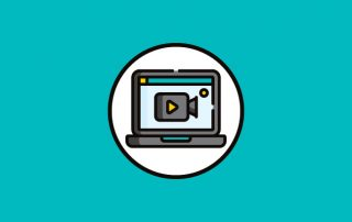 Blue background with white circle. Animated image of a laptop with camera on screen in circle.