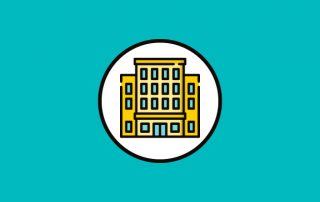 Blue background with white circle. Animated image of a generic building in circle.