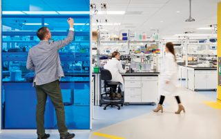 Stock photo of three lab technicians working at a lab