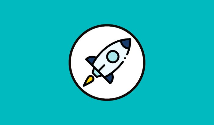 Blue background with white circle. Animated image of a rocket ship inside circle.