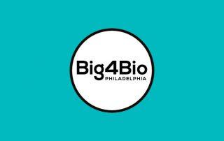 Blue background with white circle. Text inside circle: Big4Bio Philadelphia